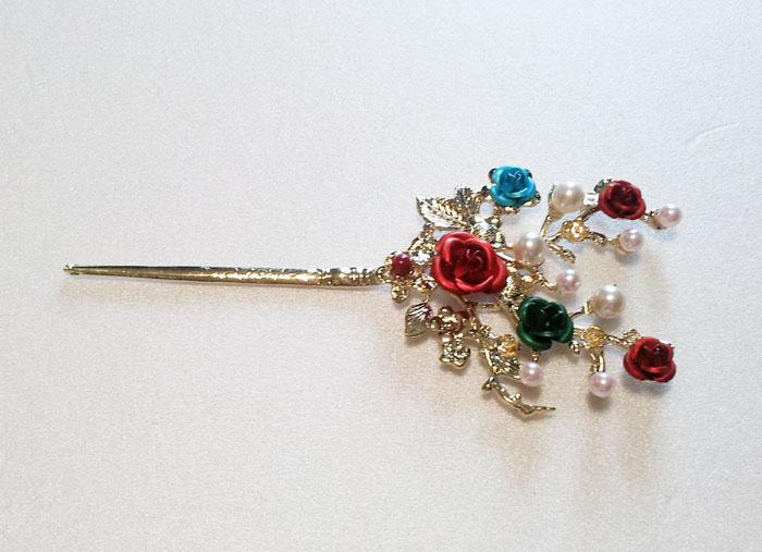Hanbok Binyeo Rose Hair Pin Stick Band Dress Party Korean