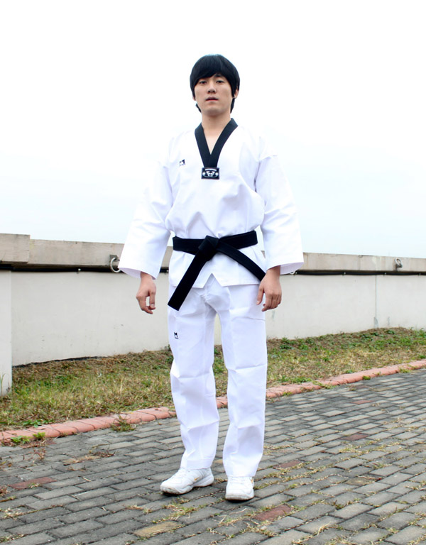 Korean TaeKwonDo uniform TKD DAN DOBOK Black collar ...